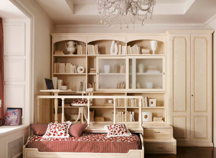 Светлая мебель в детской комнате площадью 12 кв м