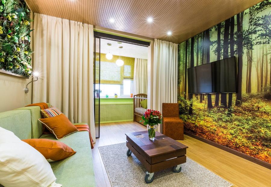 Фотообои на стене современной квартиры студии