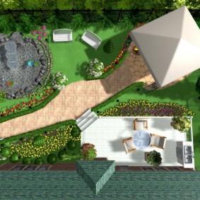 Схема диагональной планировки садового участка