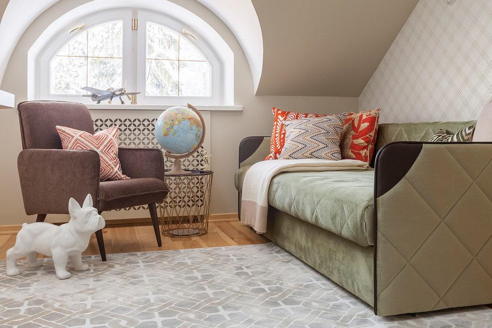 Диван-кровать в интерьере детской комнаты