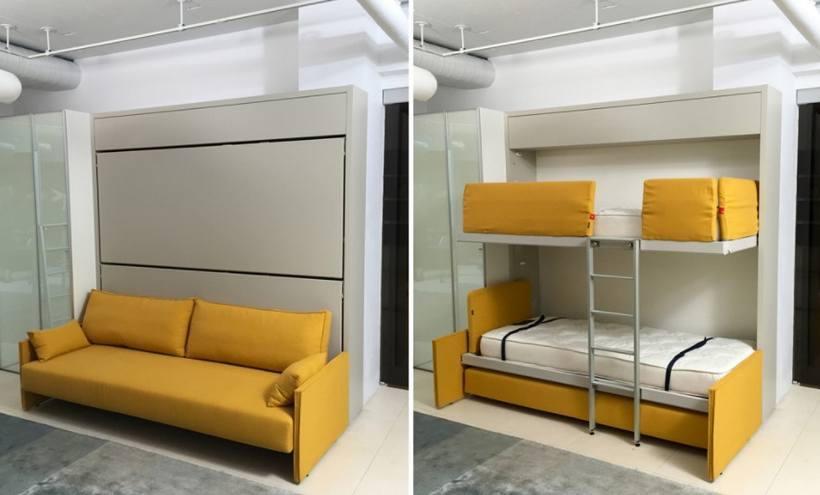 Пример трансформации мебельной стенки из дивана в детские кровати