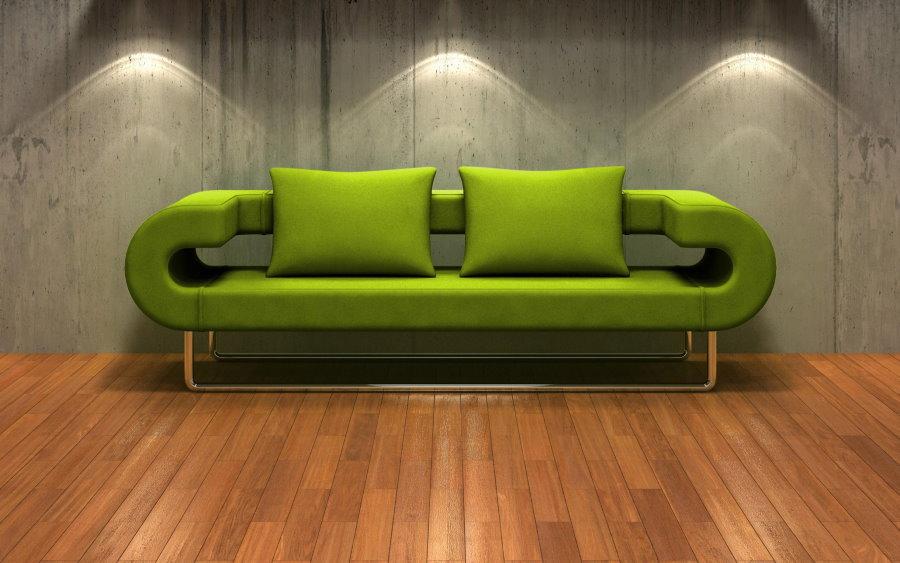 Современный диван в стиле хай-тек зеленого цвета