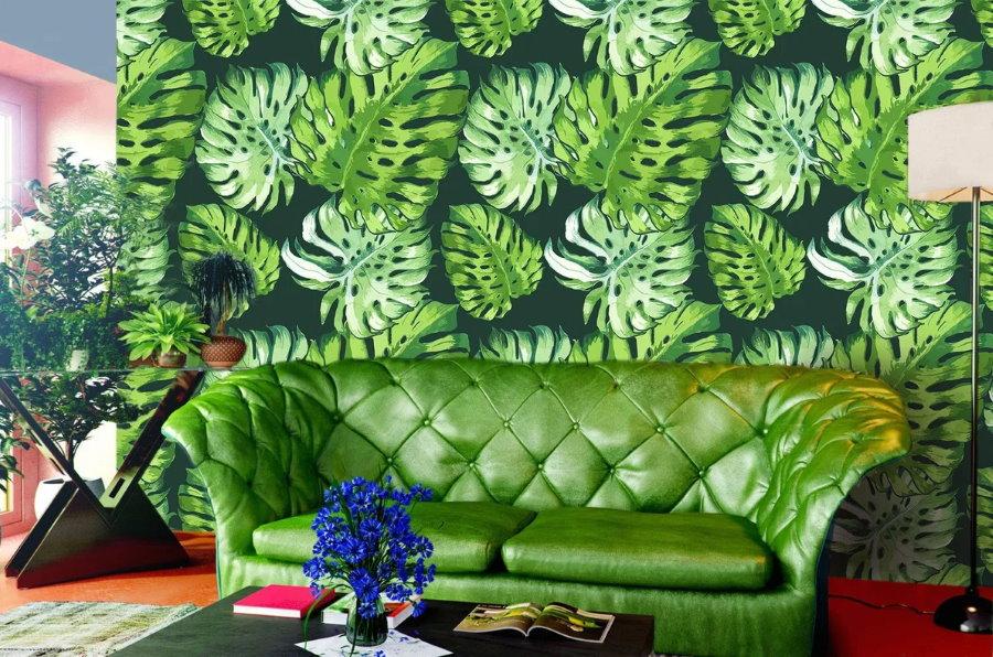Дорогой диван для гостиной в стиле тропики