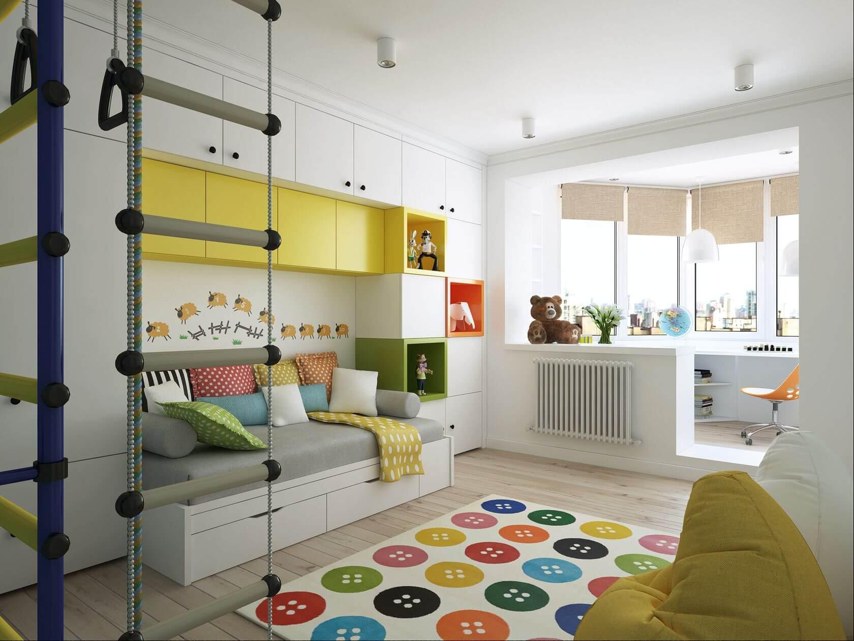 дизайн детской комнаты зонирование