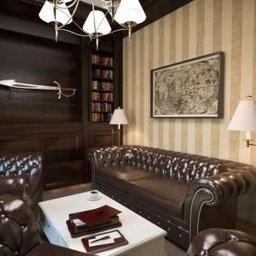 дизайн кабинета с кожаным диваном