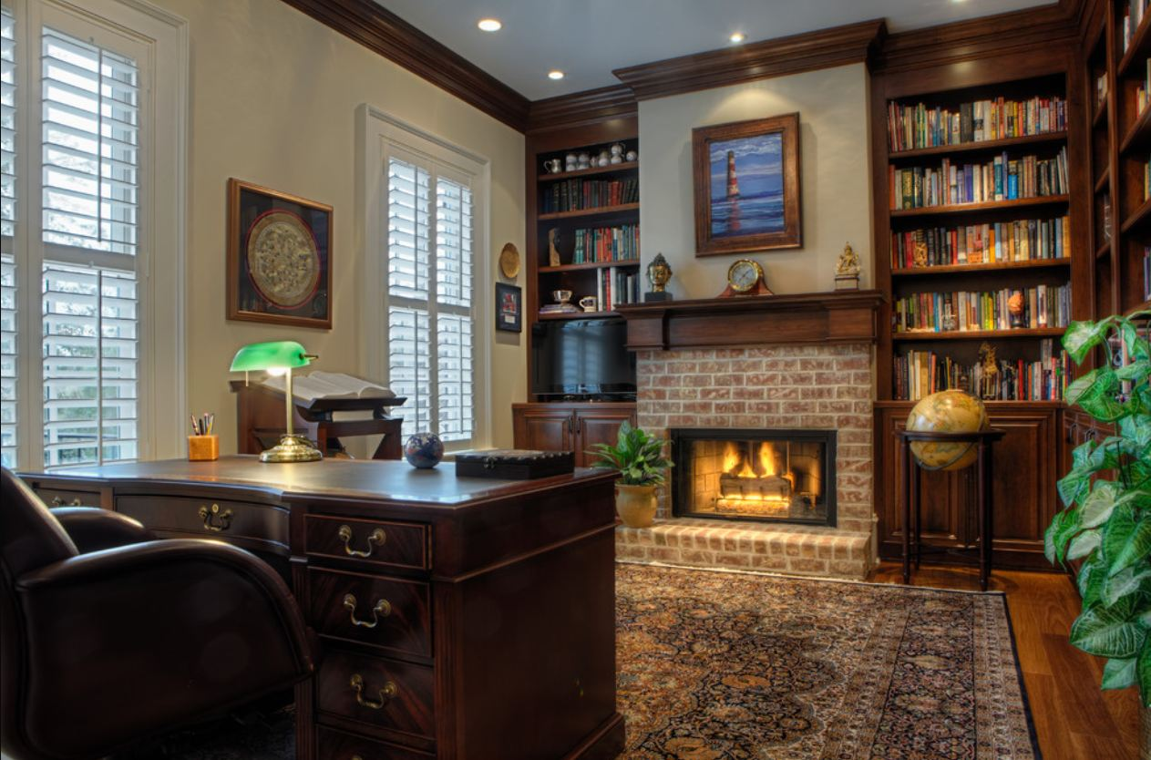 дизайн кабинета в английском стиле