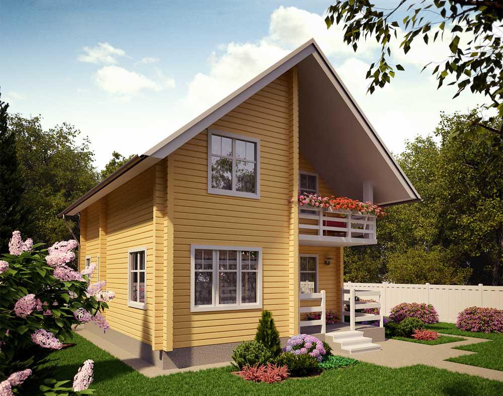 Деревянный дом на загородном участке площадью 6 соток