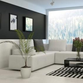 Дизайн гостиной комнаты с большим окном