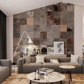 Серая мебель в дизайне гостиной