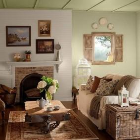 Интерьер гостиной в деревенском стиле