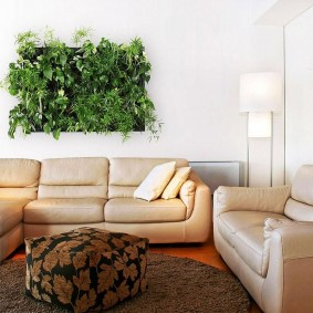 Зеленая картина в белой комнате