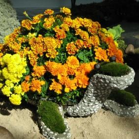Клумба в виде черепахи с яркими бархатцами