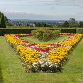 Яркая клумба в саду английского стиля