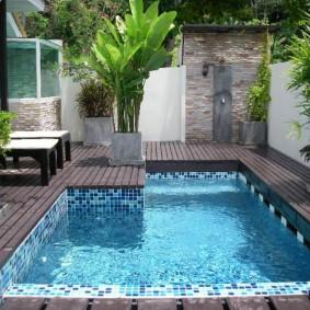 Задний двор частного дома с небольшим бассейном