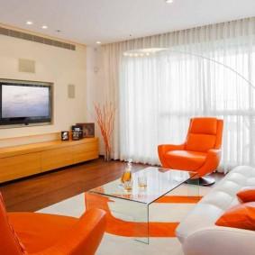 Красно-белая мебель в современном стиле