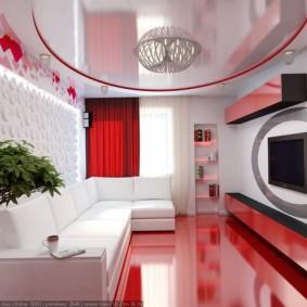 Белый диван на красном полу