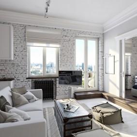 Раздвижная перегородка между спальней и гостиной