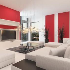 Красно-белый интерьер современной гостиной