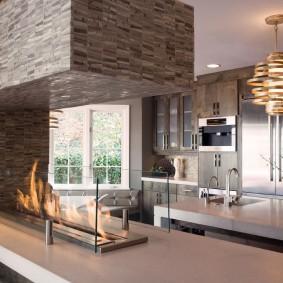 Кухонная столешница со встроенным биокамином