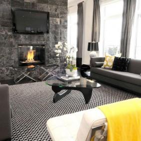 Камин в интерьере гостиной стиля арт-деко