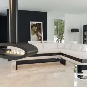 Гостиная в стиле минимализма с подвесным камином