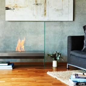 Деревянный пол гостиной комнаты