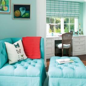 Бирюзовая мебель с каретной стяжкой