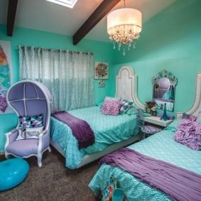 Спальня девочек в бирюзовом цвете