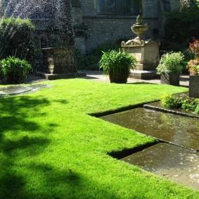 Полив газона в солнечную погоду