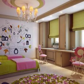Римские шторы в спальне девочек