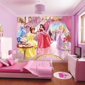Декор стены детской фотообоями с феями