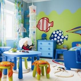 дизайн просторной детской комнаты для мальчика