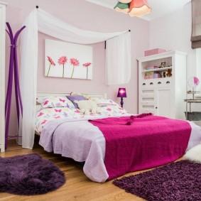 Сиреневый цвет в дизайне спальни для девочки