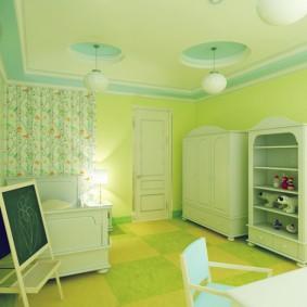 Зеленые оттенки в дизайне детской комнаты