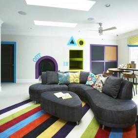 Детская мебель с тканевой обивкой серого цвета