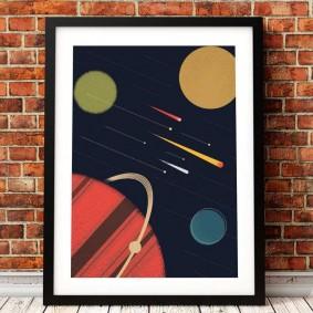 Детский постер в рамке на тему космоса