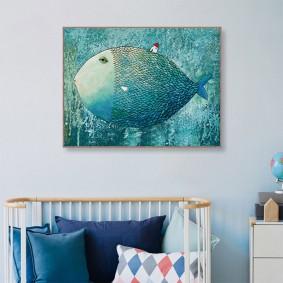 Рисунок рыбки акварелью на детском постере