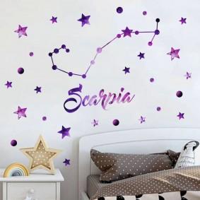 Созвездие на стене в детской комнате