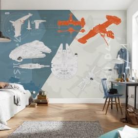 Огромный постер в комнате юного изобретателя