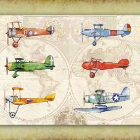 Постер с аэропланами на фоне карты мира