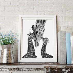 Фото жирафов в тонкой рамке