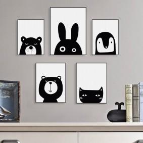 Черно-белые постеры детской тематики
