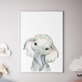 Милый слоник на светлом постере