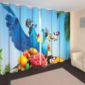 Фотопечать на занавесках в детской комнате