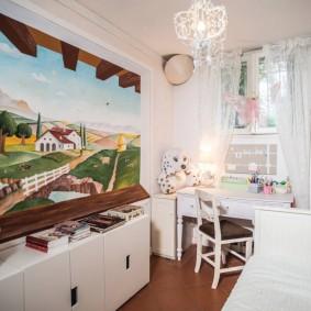 Фотообои в интерьере маленькой комнаты