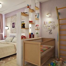 Деревянная кроватка для новорожденного младенца