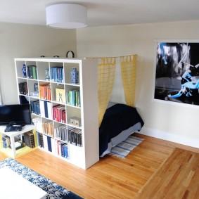 Книжный шкаф в квартире студии