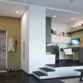 Дизайн квартиры студии с подиумом