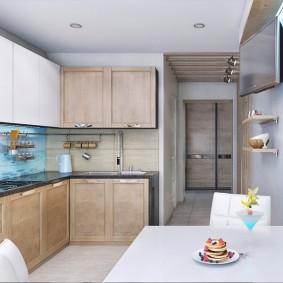Угловой гарнитур в кухне пятиэтажного дома
