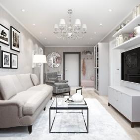 Интерьер гостиной в квартире линейного типа